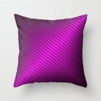 Purple Oblique Stripes Throw Pillow