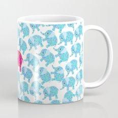 Vintage pink teal floral cute elephant pattern Mug