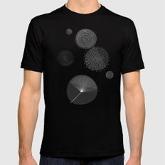 Back and White Retro Mod Flowers by Friztin SMALL Mens Fitted Tee Black