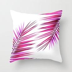 pink palm leaf II Throw Pillow