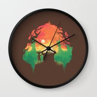 Sunset with a friend Wall Clock