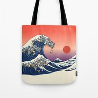 Tote Bag featuring The Great Wave of Pug   by Huebucket