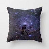 Black crow in moonlight Throw Pillow
