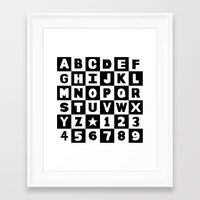 Alphabet Black And White Framed Art Print