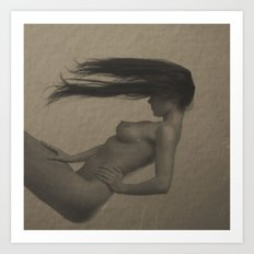 Photograph Nude Woman in vintage look Art Print