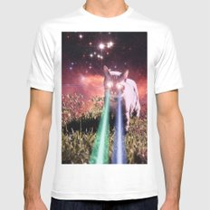 Mega Space Cat Rising White Mens Fitted Tee SMALL