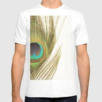 Peacock Feather Mens Fitted Tee White SMALL