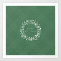 Simple Christmas Wreath Art Print