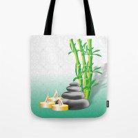 Meditation stones, bamboo and candles Tote Bag