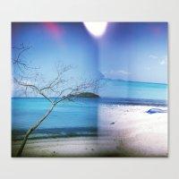 Canvas Print featuring Beach Multiple Exposure by istillshootfilm
