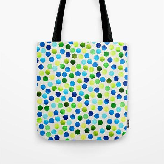 Watercolor Dots_Aqua by Jacqueline and Garima Tote Bag