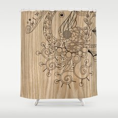 Tangle on wood Shower Curtain