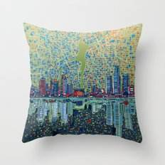 detroit city skyline Throw Pillow