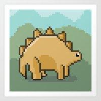 Pixel Dino! Art Print