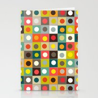 retro boxed dots Stationery Cards