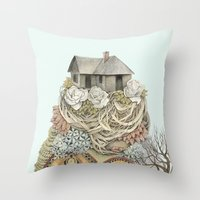 Sweet Home I // Forest Illustration Throw Pillow