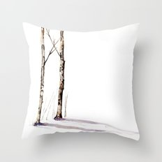 Birch Trees in January Throw Pillow