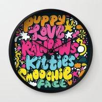 PUPPY LOVE, RAINBOWS, KI… Wall Clock