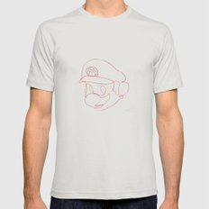 One Line Supermario Mens Fitted Tee Silver SMALL