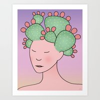 Prickly Pear Cactus Spir… Art Print