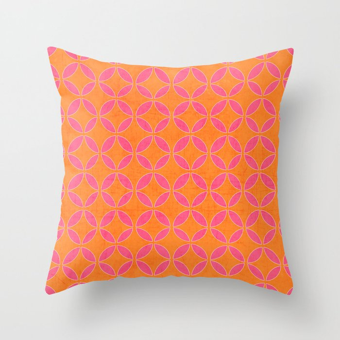 rings - pink and orange Throw Pillow by Her Art Society6