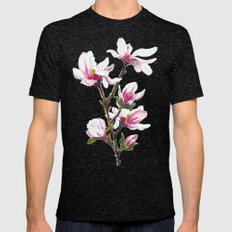 Magnolia blossom Mens Fitted Tee Tri-Black SMALL