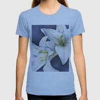 White Lilies Womens Fitted Tee Athletic Blue SMALL
