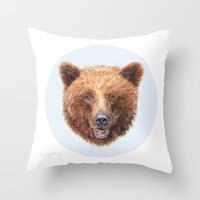 Brown Bear portrait Throw Pillow