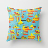 Abstract Boats Inspired … Throw Pillow