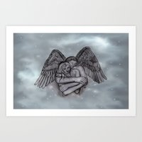 Eros , Amor - Angel and Woman in Love Art Print