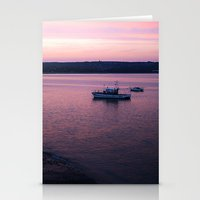 Stationery Card featuring Dusk in the Harbour. by Becky Dix