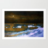 Sea landscape by night Art Print
