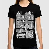 San Francisco Green Womens Fitted Tee Black SMALL