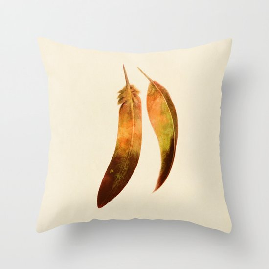 Gold Feathers  Throw Pillow