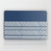 Herringbone Boarder Navy Laptop & iPad Skin