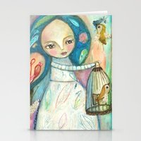 Free to fly - girl and birds Stationery Cards