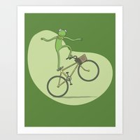 Ride On Kermit Art Print