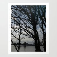 Trees Along The River Th… Art Print
