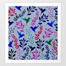 Watercolor Floral & Birds  Art Print