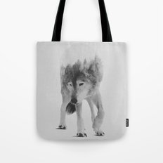 Wolf In The Woods (black & white version) Tote Bag