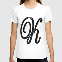 Monogrammed Letter K Womens Fitted Tee White SMALL