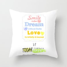 {ENG} SMILE · DREAM · LOVE Throw Pillow