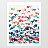 teal Art Prints featuring Heart Connections - watercolor painting by micklyn