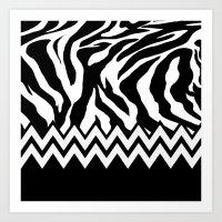 Zebra Chevron Art Print