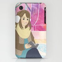 iPhone 3Gs & iPhone 3G Cases featuring Windmill reading girl by Una Anguila