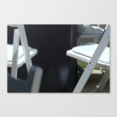 Four White Wooden Chairs... Canvas Print