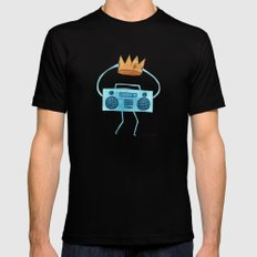 boombox holding a paper crown Mens Fitted Tee Black SMALL
