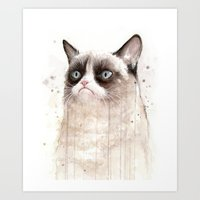 Grumpy Watercolor Cat II Art Print