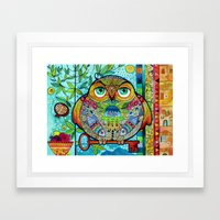 judaica folk owl Framed Art Print