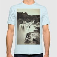 Vintage Waterfall Mens Fitted Tee Light Blue SMALL